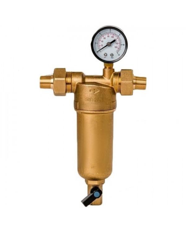 Фильтр грязевик для горячей воды Гейзер Бастион 122 (90мкм) с манометром